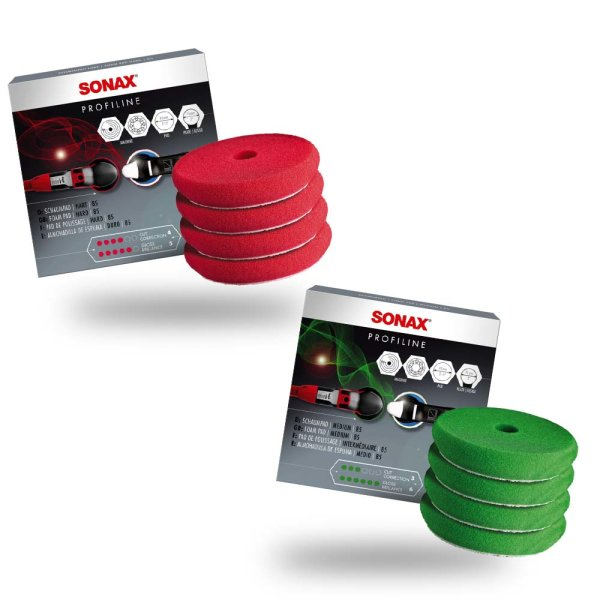 Sonax Polierpad 4er Set 85mm (Medium, Hart)